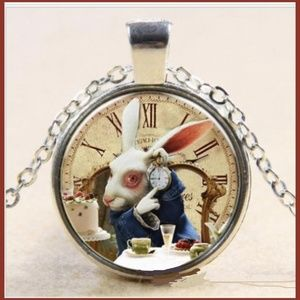Alice in Wonderland Cabochon Pendant Necklace